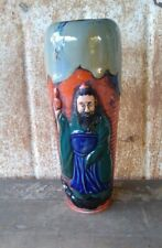 Old Sumida Gawa Japanese Pottery Vase Single Figure Banko Pottery