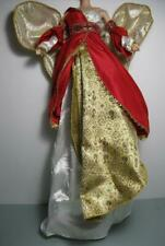 NEW BARBIE DOLL RED/GOLD HOLIDAY ANGEL WINGS on ULTRA LONG DRESS Gown 2000/2001