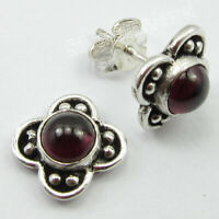 "925 Sterling Silver Natural Garnet Stud Post Earrings 0.4"" Women's Gems Jewelry"