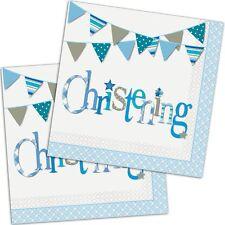 BLUE BUNTING CHRISTENING Boy Party Range - Tableware Balloons & Decorations {UQ}