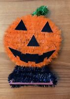 Vintage Halloween Tinsel Jack O Lantern Pumpkin Tabletop Shelf Decor