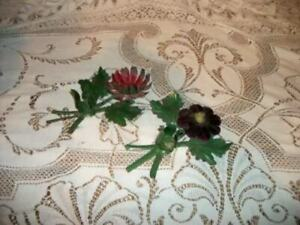 ITALIAN TOLE FLOWER CANDLE HOLDERS FRENCH FARMHOUSE CHIPPY RUSTY 1930s ANTIQUE
