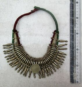 Old Nepal Tharu Silver & Brass Necklace 2 Antique Indian Coins