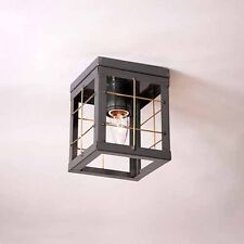 Single Flush Mount Ceiling Light in Country Tin with Brass Bars - Hallway, Foyer