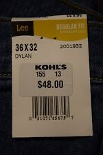 NEW w/tag Men's Lee Premium Select 36/32 Regular Straight Leg Blue Jeans DylaSY