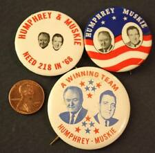 1968 Hubert H.Humphrey-Edmund Muskie for President 3 jugate pin set-HHH 218 win!