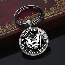 Ramones Keychains Silver Plated Pendant Hey Hol Let's Go Key Chain Keyrings