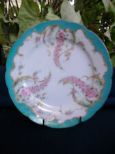 "CH FIELD HAVILAND-GDM-LIMOGES-1890's- DISPLAY PLATE-7 1/2""- ROSES-GILT MORIAGE!!"
