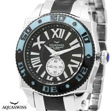 AQUASWISS SWISSport G 44mm All Stainless Steel Watch, SW10 62G Black & Blue