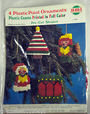 Vtg Plastic Point Christmas Kit  Makes 4 Ornaments NMI Needlemagic Drum Tree NEW