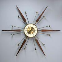 "Vintage 30"" ELGIN Atomic Starburst  Working Wall Clock Sunburst Teak Wood Brass"