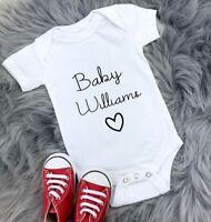 Personalised Custom Baby Name Vest heart Baby Grow Bodysuit Reveal Announcement