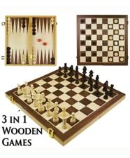 Wooden Chess Board Portable Set High Quality Games Camping Travel Uk Slr