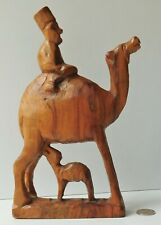 Olive wood camel with calf and rider Vintage carved wooden ornament Holy Land 9""