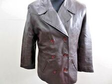 "WOMENS SOFT GREY QUILTED DOUBLE BREASTED JACKET SIZE 38"" BROWN VGC SKU NO Z323"
