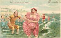 Artist impression Beach Bather Fat Woman Comic Humor C-1906 Postcard 20-4727