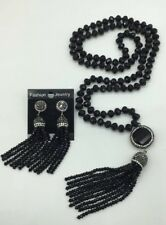 Fashion M-knotted Crystal Beads Crystal Tassel Necklace Earrings Woman Gift set