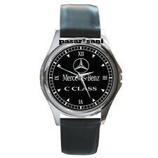 NEW MERCEDES BENZ C CLASS Custom Round Metal Leather Men's Watch Watches