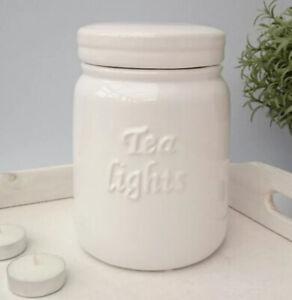 White Embossed Ceramic Tea Lights Storage Jar, Christmas Gift