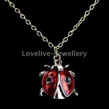 Women Girls Enamel Cute Ladybug Pendant Necklace Chain Charm Xmas Jewelry Gift