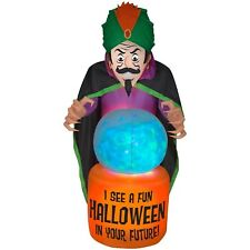 Halloween Inflatable 7.5' Fortune Teller w/ Fire & Ice Crystal Ball By Gemmy
