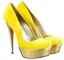 MORI ITALY PLATFORM HIGH HEEL PUMPS SCHUHE SHOES KROCO LEATHER YELLOW GIALLO 42