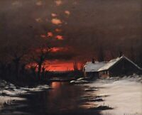 Sunset in Winter by Nils Hans Christiansen Fine Art Poster Print on Canvas Small