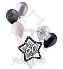 7 pc 60th Elegant Star Happy Birthday Balloon Bouquet Decoration Black & White