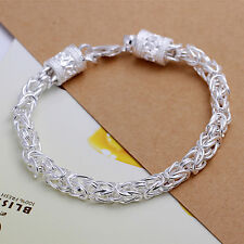Women's Unisex Sterling Silver Link Chain 8 Inches Lobster Bracelet L59