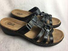 Clarks Collection Women's Size 8 M Sandals Black Slides Leather Adjustable