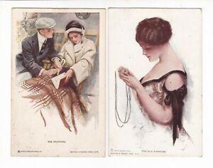 2 x HARRISON FISHER Reinthal & Newman GLAMOUR ARTIST postcards