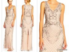 NWT ADRIANNA PAPELL  Size 16 V neck  Beaded Column Gown Dress $349