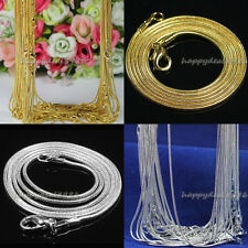 """20pcs/50pcs Silver Plated/Gold Plated 1.2mm Snake Chain Necklace 16""""-30"""""""
