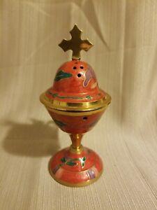 """Red Enamel Coated Brass Censer, 6.5"""""""