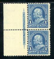 USAstamps Unused VF US 1895 Franklin Imprint Pair Scott 264 OG MNH
