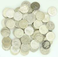 Roosevelt Dimes $10 Face Value 90% Silver 2 Rolls 100 Coin Bulk Lot Collection