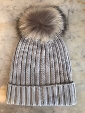 New Women's Grey Racoon Fur Pom Pom Cable Knit Hat by Somerville Scarves