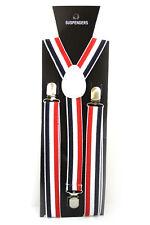 White Red Black Stripe Adjustable Braces Suspenders Mens Womens Fancy Dress 2.5