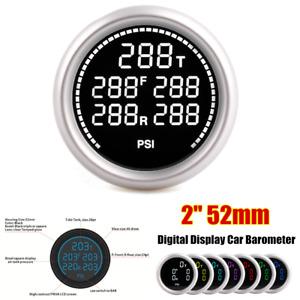 """2"""" 52mm Digital Display Car Barometer Pneumatic Shock Absorber For 12V Battery"""