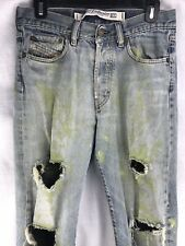 Diesel Denim Jeans Mens 29 X 32 Painted Splash Grunge Industrial Light Wash Fade