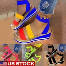 Womens Summer Ankle Strap Sandals Ladies Casual Wedge Heel Open Toe Shoes Size