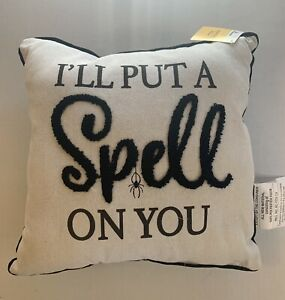 Halloween I'll Put A Spell On You Spider Black & White Throw Pillow 13x13