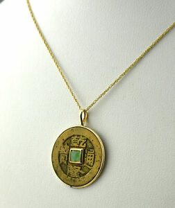 Estate $500 14K Yellow Gold & Bronze Cash Coin Green Stone Necklace