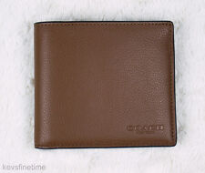 New Coach Men Dark Saddle Billfold Double Fold Leather Wallet 75084 f75084 $150