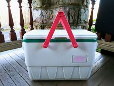1980's Igloo The Picnic Basket Cooler White and Teal Nearly Perfect New Drain