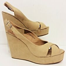 "RETRO 40/50's Vintage Style Wedge shoes Beige with 5"" Wedge Size 39 EU 6 UK Box"