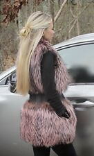 Dyed Pastel Silver Fox Fur Vest with Cashmere waist
