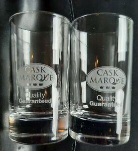 "Pair of Cask Marque Logo Tumbler Glasses - 4"" /10cm high - excellent condition!"