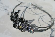 NEW IN **  Antique Style Black Diamanté Crystal Side tiara headband
