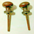 """2 Antique Wood Knobs 1 1/2"""" dia  with 2 1/4"""" Bolts or Screws"""